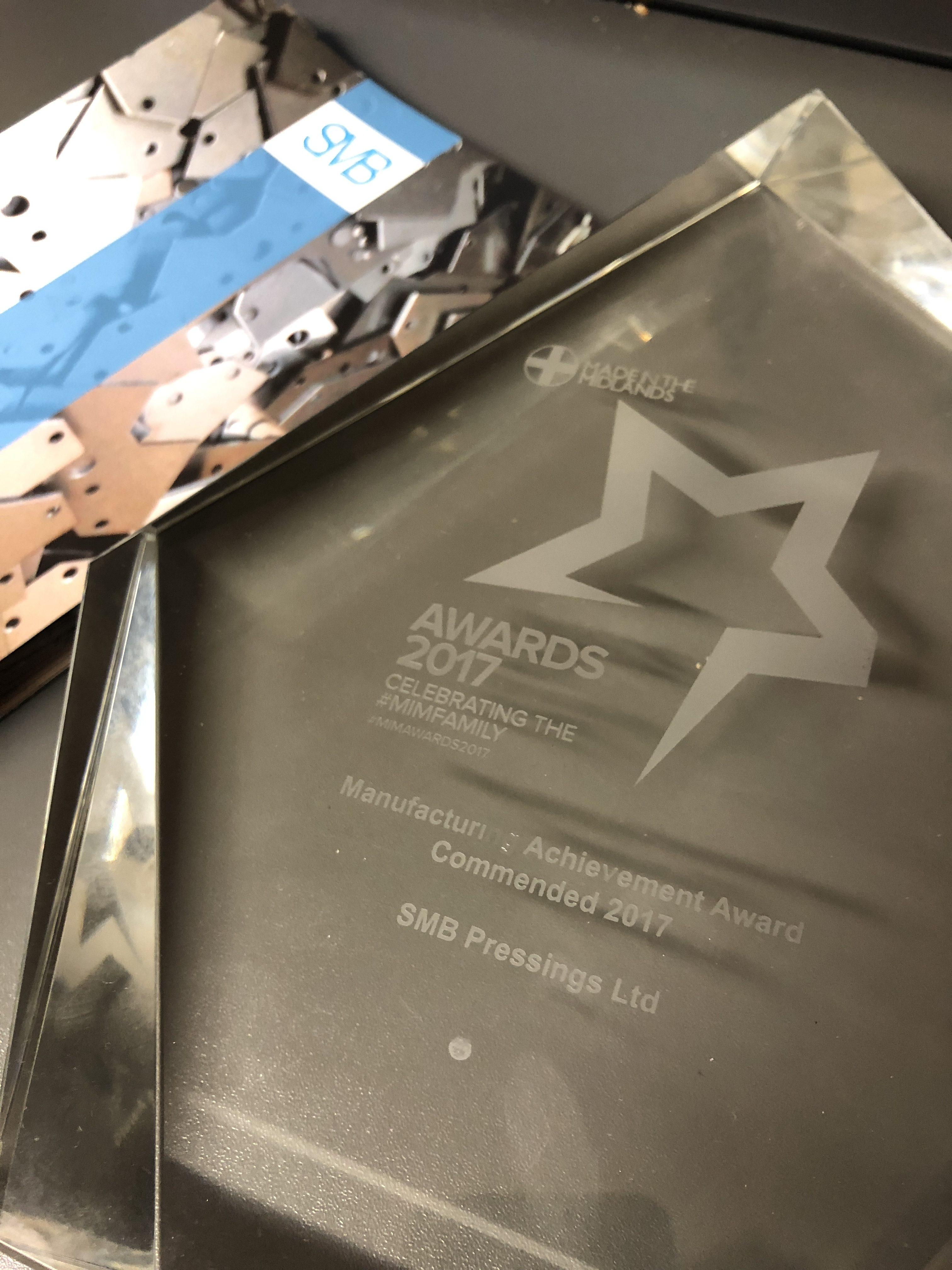 MiM Award - Manufacturing Achievement Award Commended 2017